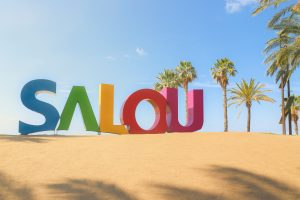 The iconic SALOU sign at the beach